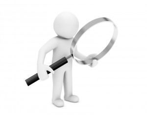 Man and magnify glass