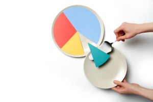 Concept illustration of a pie chart on a plate, one segment is served.