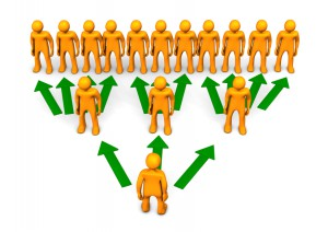 A rendering of pyramid scheme with orange toons and green arrows.